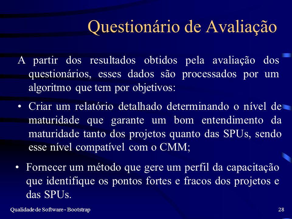 Qualidade de Software - Bootstrap28 Questionário de Avaliação A partir dos resultados obtidos pela avaliação dos questionários, esses dados são proces