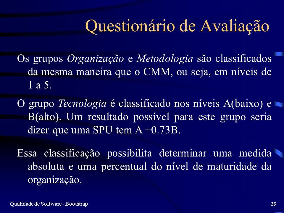 Qualidade de Software - Bootstrap29 Questionário de Avaliação Os grupos Organização e Metodologia são classificados da mesma maneira que o CMM, ou seja, em níveis de 1 a 5.
