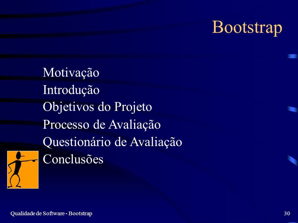 Qualidade de Software - Bootstrap30 Bootstrap Motivação Introdução Objetivos do Projeto Processo de Avaliação Questionário de Avaliação Conclusões