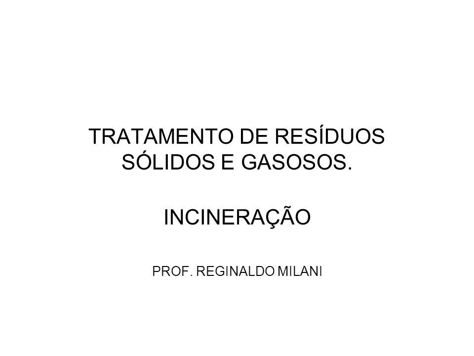 TRATAMENTO DE RESÍDUOS SÓLIDOS E GASOSOS. INCINERAÇÃO PROF. REGINALDO MILANI
