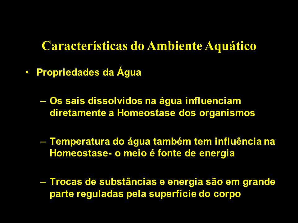 Características do Ambiente Aquático Propriedades da Água –Os sais dissolvidos na água influenciam diretamente a Homeostase dos organismos –Temperatur