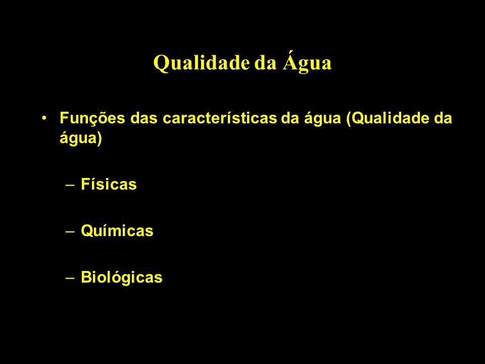 Qualidade da Água Funções das características da água (Qualidade da água) –Físicas –Químicas –Biológicas