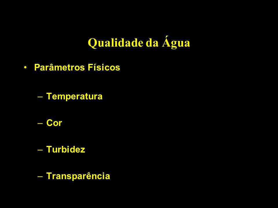 Qualidade da Água Parâmetros Físicos –Temperatura –Cor –Turbidez –Transparência