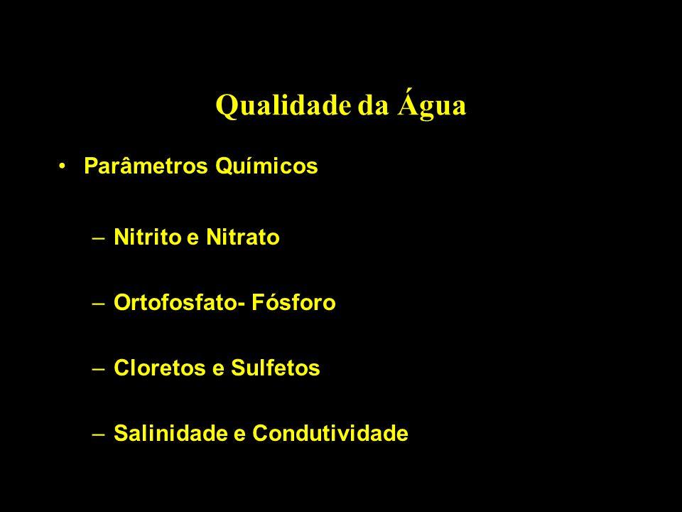 Qualidade da Água Parâmetros Químicos –Nitrito e Nitrato –Ortofosfato- Fósforo –Cloretos e Sulfetos –Salinidade e Condutividade