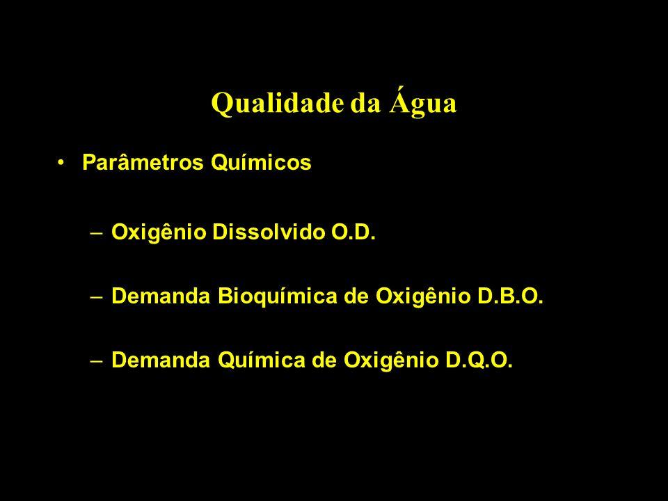 Qualidade da Água Parâmetros Químicos –Oxigênio Dissolvido O.D. –Demanda Bioquímica de Oxigênio D.B.O. –Demanda Química de Oxigênio D.Q.O.