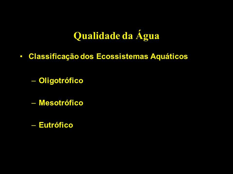 Qualidade da Água Classificação dos Ecossistemas Aquáticos –Oligotrófico –Mesotrófico –Eutrófico