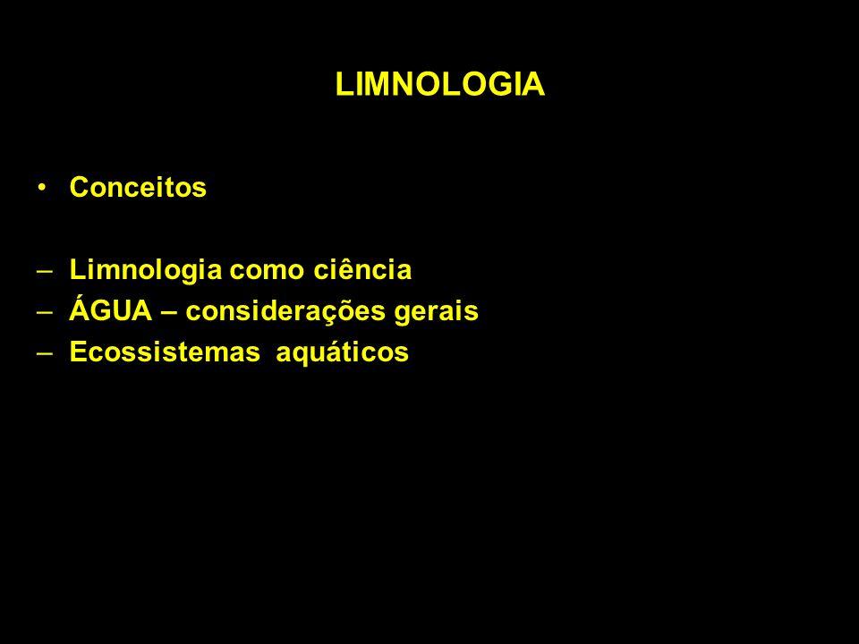 LIMNOLOGIA Conceitos –Limnologia como ciência –ÁGUA – considerações gerais –Ecossistemas aquáticos