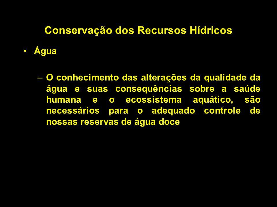 Conservação dos Recursos Hídricos Água –O conhecimento das alterações da qualidade da água e suas consequências sobre a saúde humana e o ecossistema a