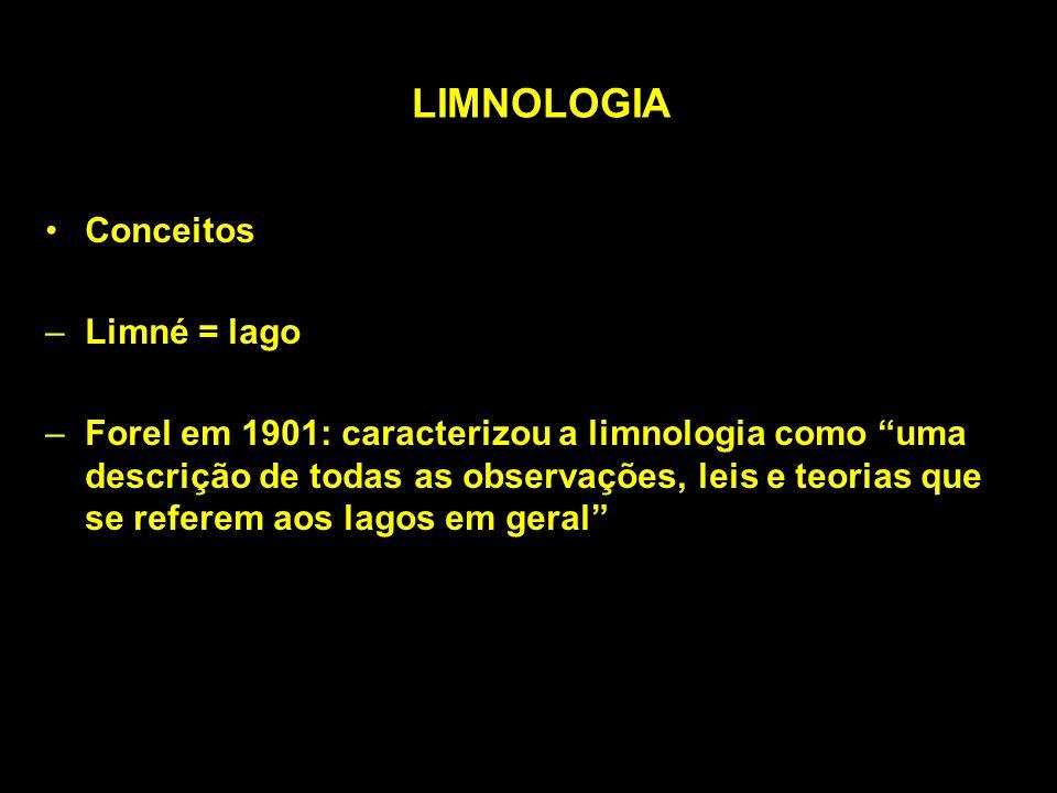 LIMNOLOGIA Conceitos –Limné = lago –Forel em 1901: caracterizou a limnologia como uma descrição de todas as observações, leis e teorias que se referem