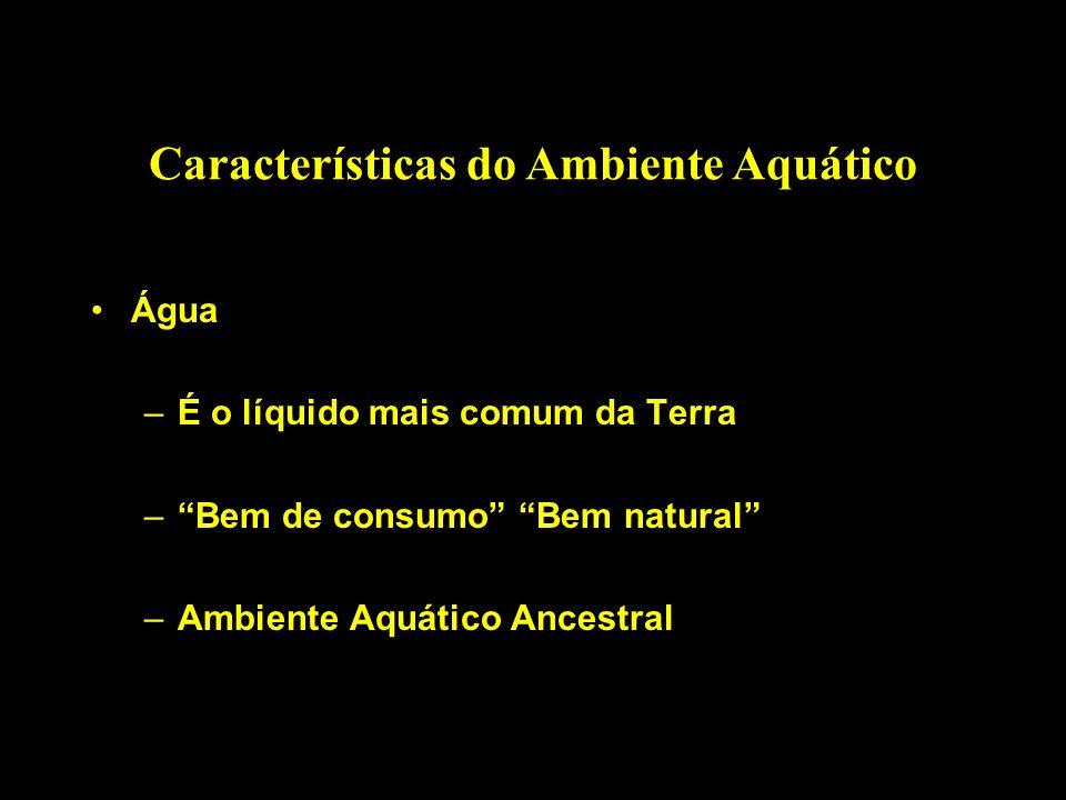 Características do Ambiente Aquático Propriedades da Água –Calor específico alto (1,0) –Meio mais estável da natureza –Tensão superficial = Coesão e/ou Adesão –Densidade- em função da T e salinidade