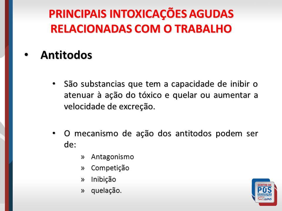 PRINCIPAIS INTOXICAÇÕES AGUDAS RELACIONADAS COM O TRABALHO Antitodos Antitodos São substancias que tem a capacidade de inibir o atenuar à ação do tóxi
