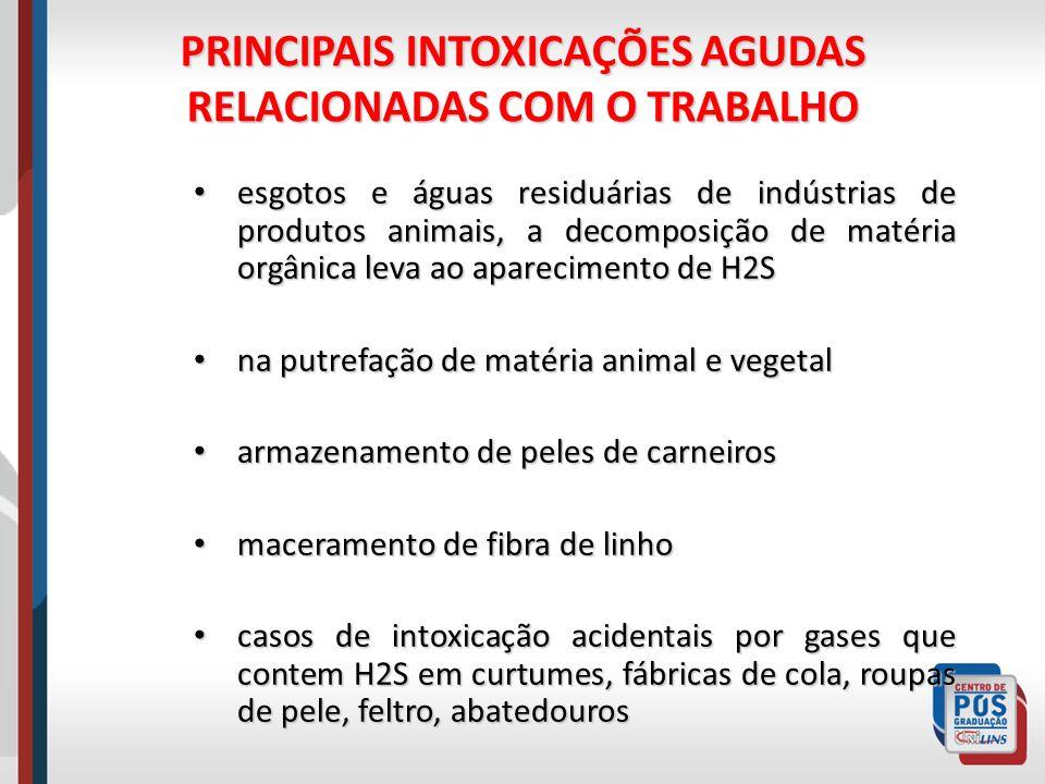 PRINCIPAIS INTOXICAÇÕES AGUDAS RELACIONADAS COM O TRABALHO esgotos e águas residuárias de indústrias de produtos animais, a decomposição de matéria or
