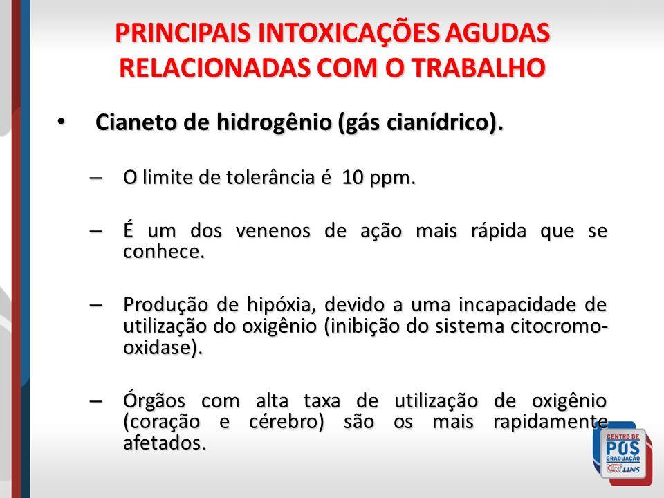PRINCIPAIS INTOXICAÇÕES AGUDAS RELACIONADAS COM O TRABALHO Cianeto de hidrogênio (gás cianídrico). Cianeto de hidrogênio (gás cianídrico). – O limite