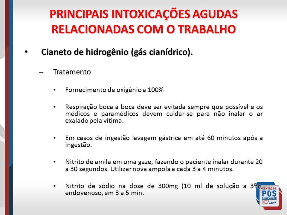 PRINCIPAIS INTOXICAÇÕES AGUDAS RELACIONADAS COM O TRABALHO Cianeto de hidrogênio (gás cianídrico). Cianeto de hidrogênio (gás cianídrico). – Tratament
