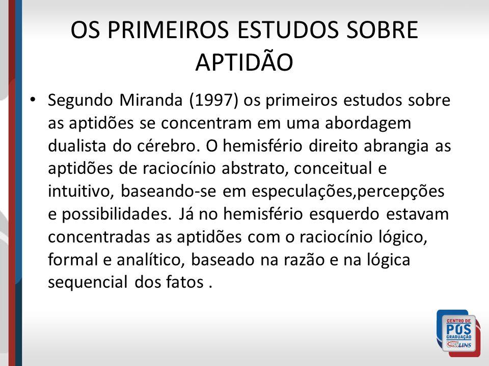 OS PRIMEIROS ESTUDOS SOBRE APTIDÃO Segundo Miranda (1997) os primeiros estudos sobre as aptidões se concentram em uma abordagem dualista do cérebro. O