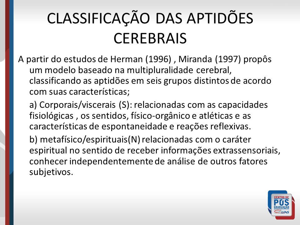 CLASSIFICAÇÃO DAS APTIDÕES CEREBRAIS A partir do estudos de Herman (1996), Miranda (1997) propôs um modelo baseado na multipluralidade cerebral, class