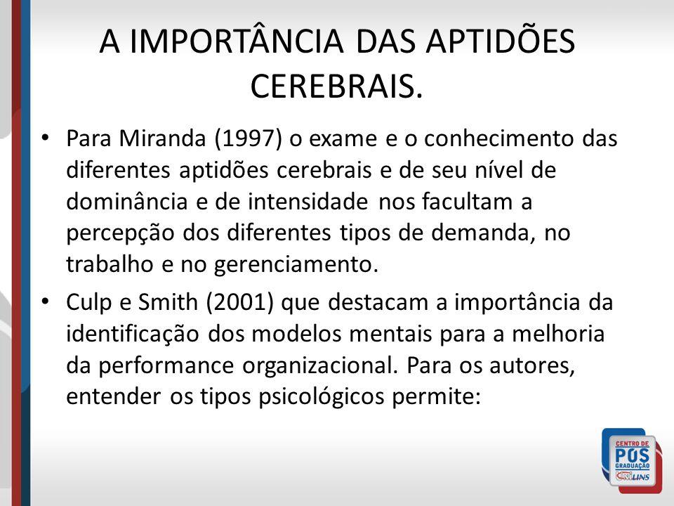 A IMPORTÂNCIA DAS APTIDÕES CEREBRAIS. Para Miranda (1997) o exame e o conhecimento das diferentes aptidões cerebrais e de seu nível de dominância e de
