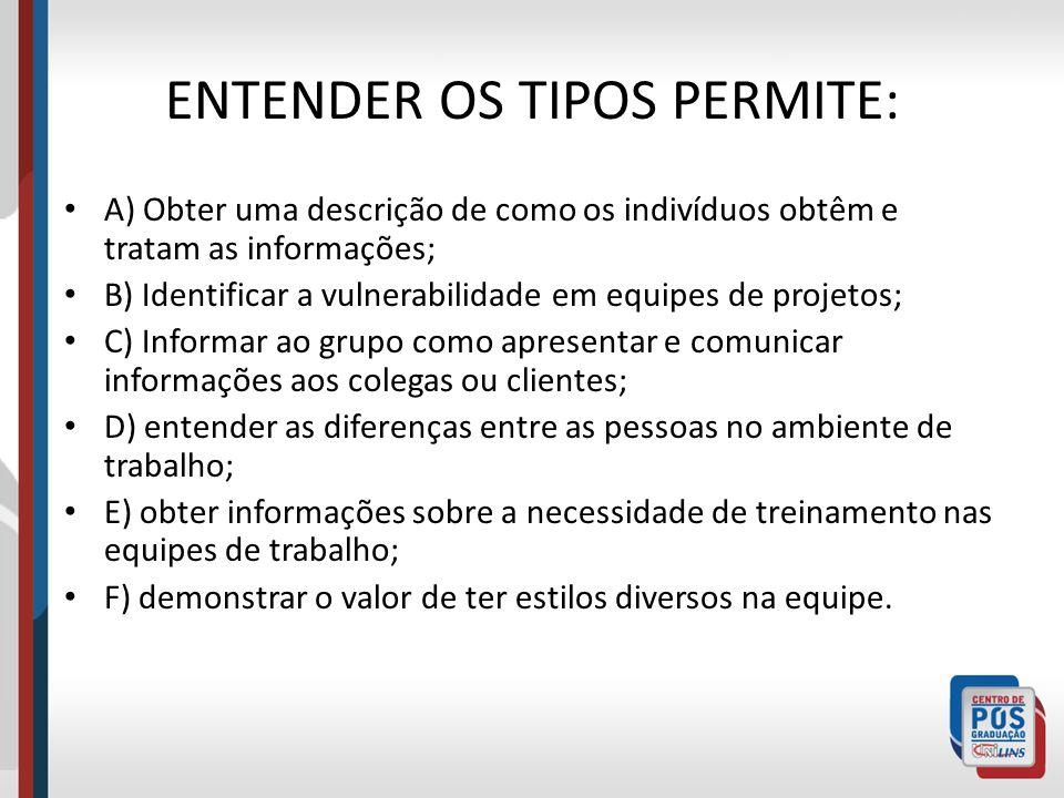 ENTENDER OS TIPOS PERMITE: A) Obter uma descrição de como os indivíduos obtêm e tratam as informações; B) Identificar a vulnerabilidade em equipes de