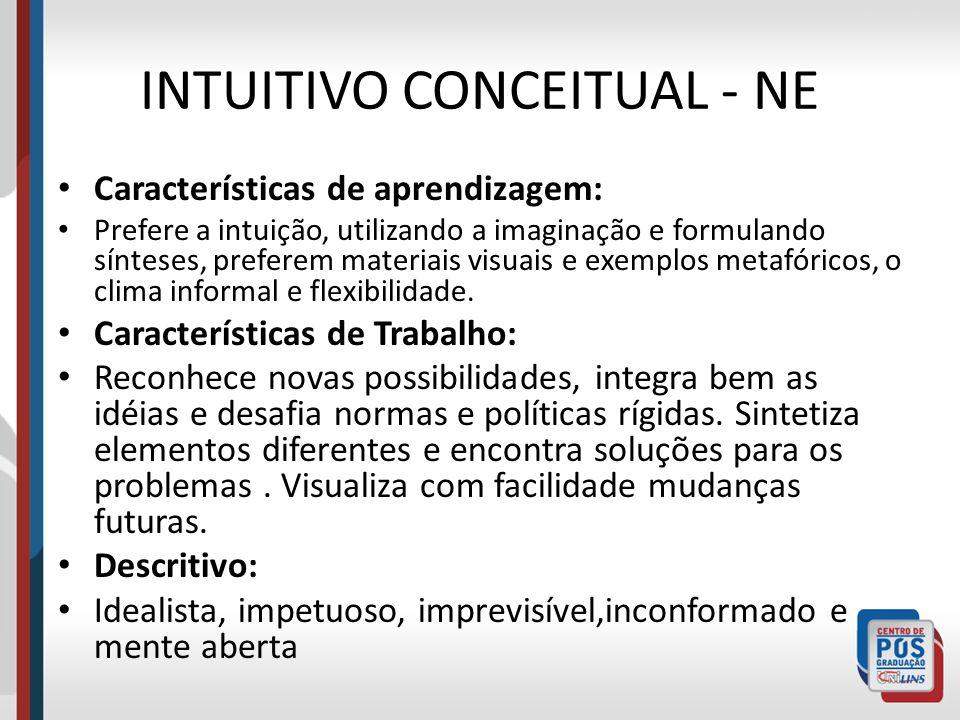 INTUITIVO CONCEITUAL - NE Características de aprendizagem: Prefere a intuição, utilizando a imaginação e formulando sínteses, preferem materiais visua