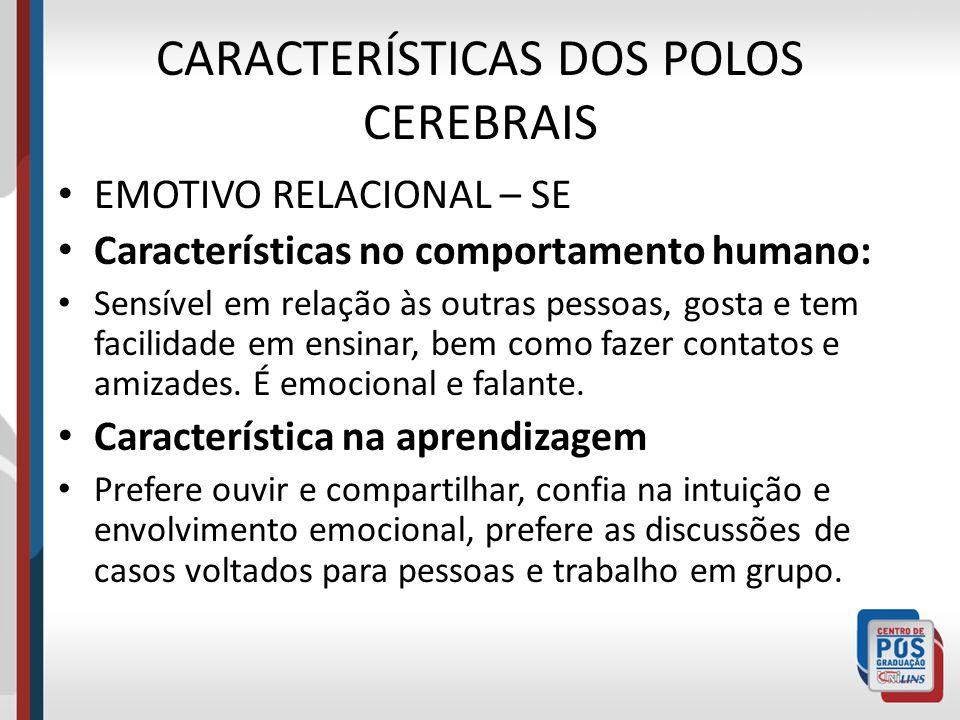 CARACTERÍSTICAS DOS POLOS CEREBRAIS EMOTIVO RELACIONAL – SE Características no comportamento humano: Sensível em relação às outras pessoas, gosta e te