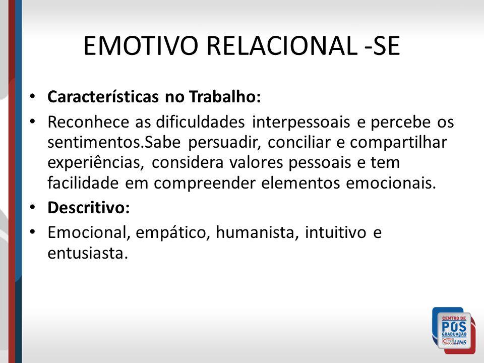 EMOTIVO RELACIONAL -SE Características no Trabalho: Reconhece as dificuldades interpessoais e percebe os sentimentos.Sabe persuadir, conciliar e compa
