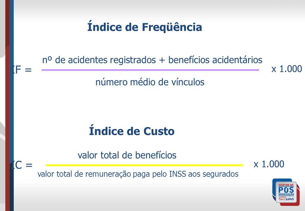 Índice de Freqüência nº de acidentes registrados + benefícios acidentários número médio de vínculos x 1.000 IF = Índice de Custo IC = valor total de b