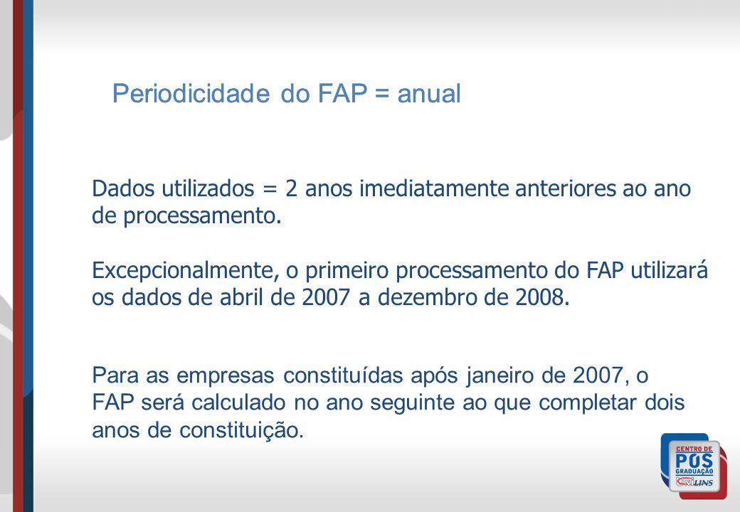 Periodicidade do FAP = anual Para as empresas constituídas após janeiro de 2007, o FAP será calculado no ano seguinte ao que completar dois anos de co