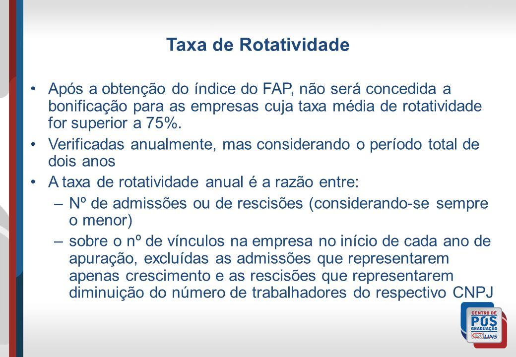 Taxa de Rotatividade Após a obtenção do índice do FAP, não será concedida a bonificação para as empresas cuja taxa média de rotatividade for superior