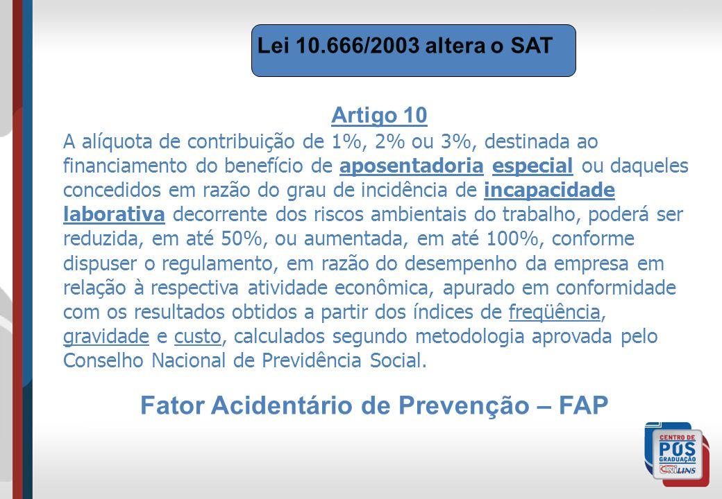 Lei 10.666/2003 altera o SAT Artigo 10 A alíquota de contribuição de 1%, 2% ou 3%, destinada ao financiamento do benefício de aposentadoria especial o