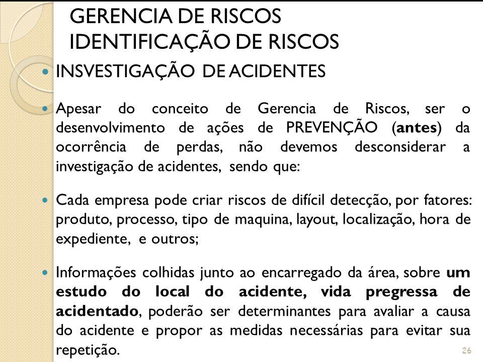 25 GERENCIA DE RISCOS IDENTIFICAÇÃO DE RISCOS INSPEÇÃO DE SEGURANÇA Contribuições que podem facilitar: Preparar formulários especiais, adequados a cad
