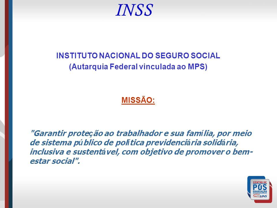INSS INSTITUTO NACIONAL DO SEGURO SOCIAL (Autarquia Federal vinculada ao MPS) MISSÃO: