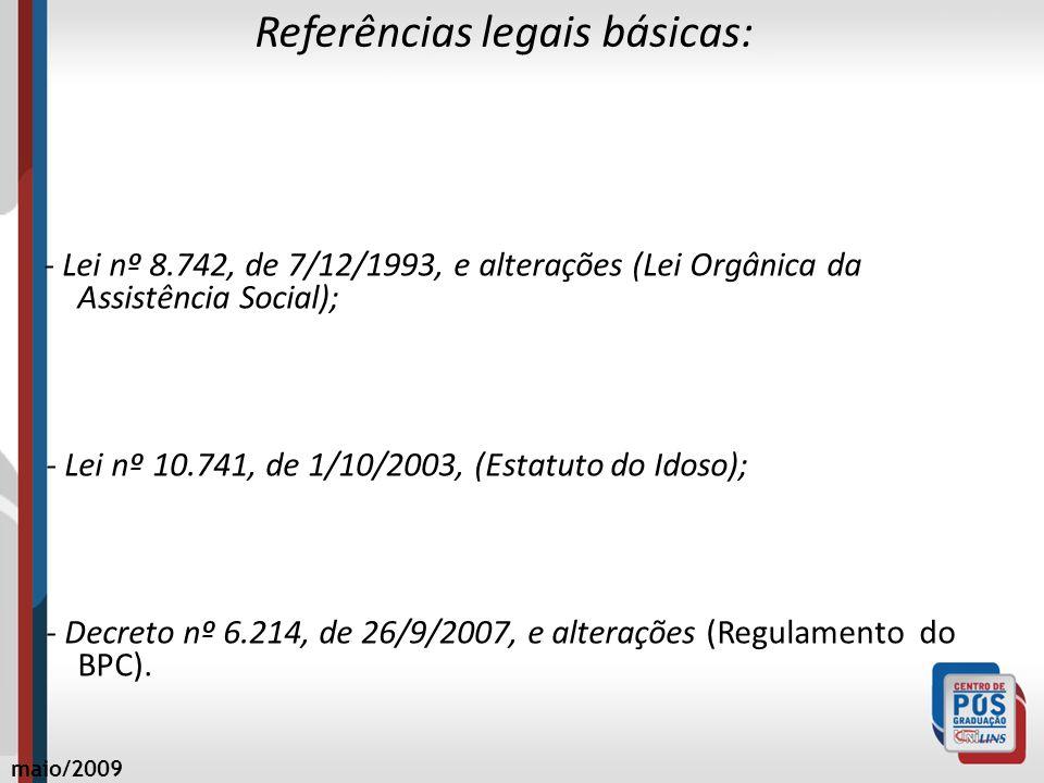 Referências legais básicas: - Lei nº 8.742, de 7/12/1993, e alterações (Lei Orgânica da Assistência Social); - Lei nº 10.741, de 1/10/2003, (Estatuto