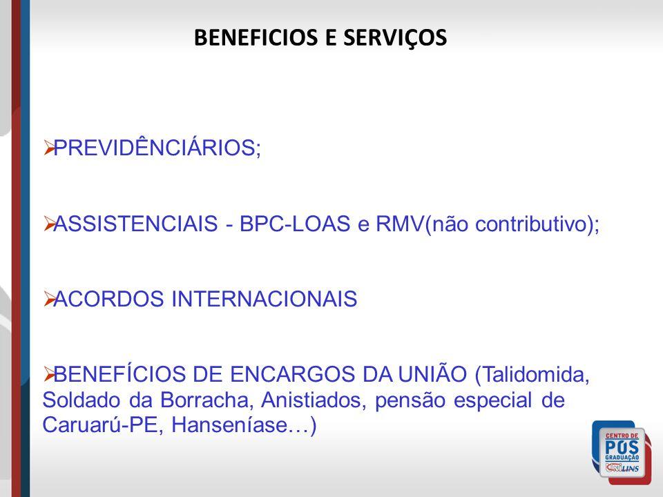 PREVIDÊNCIÁRIOS; ASSISTENCIAIS - BPC-LOAS e RMV(não contributivo); ACORDOS INTERNACIONAIS BENEFÍCIOS DE ENCARGOS DA UNIÃO (Talidomida, Soldado da Borr