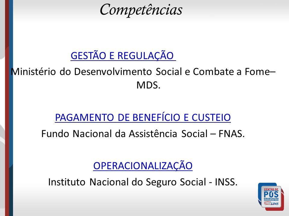 Competências GESTÃO E REGULAÇÃO Ministério do Desenvolvimento Social e Combate a Fome– MDS. PAGAMENTO DE BENEFÍCIO E CUSTEIO Fundo Nacional da Assistê