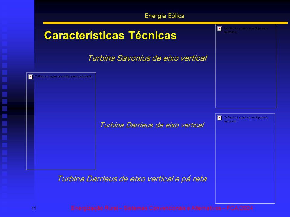 Características Técnicas 11 Energização Rural – Sistemas Convencionais e Alternativos – FCA/2004 Energia Eólica Turbina Savonius de eixo vertical Turbina Darrieus de eixo vertical Turbina Darrieus de eixo vertical e pá reta
