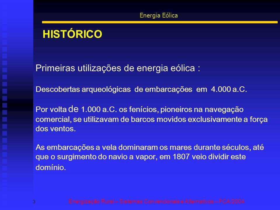 HISTÓRICO 3 Energização Rural – Sistemas Convencionais e Alternativos – FCA/2004 Energia Eólica Primeiras utilizações de energia eólica : Descobertas arqueológicas de embarcações em 4.000 a.C.