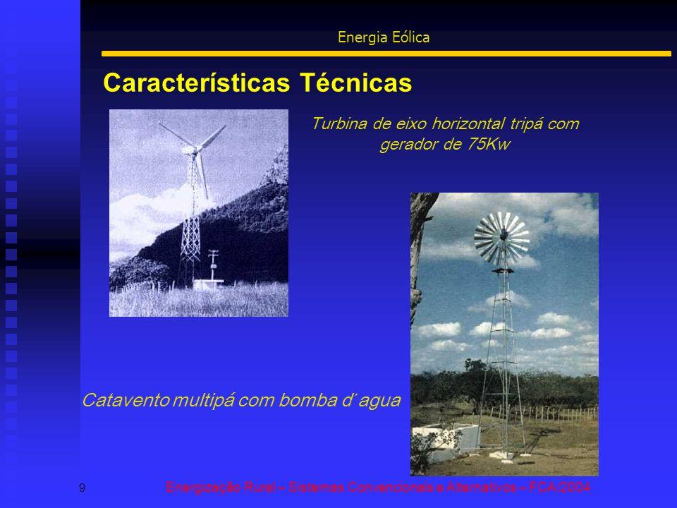 Características Técnicas 9 Energização Rural – Sistemas Convencionais e Alternativos – FCA/2004 Energia Eólica Turbina de eixo horizontal tripá com gerador de 75Kw Catavento multipá com bomba d´agua
