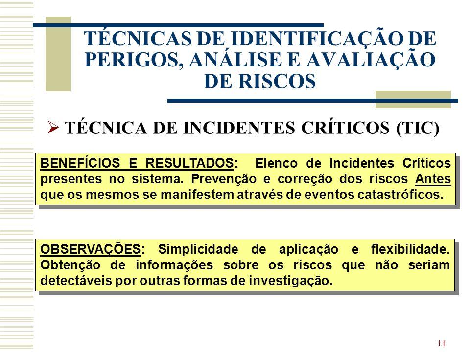 10 TÉCNICAS DE IDENTIFICAÇÃO DE PERIGOS, ANÁLISE E AVALIAÇÃO DE RISCOS TÉCNICA DE INCIDENTES CRÍTICOS (TIC) TIPO: Análise operacional, qualitativa. AP