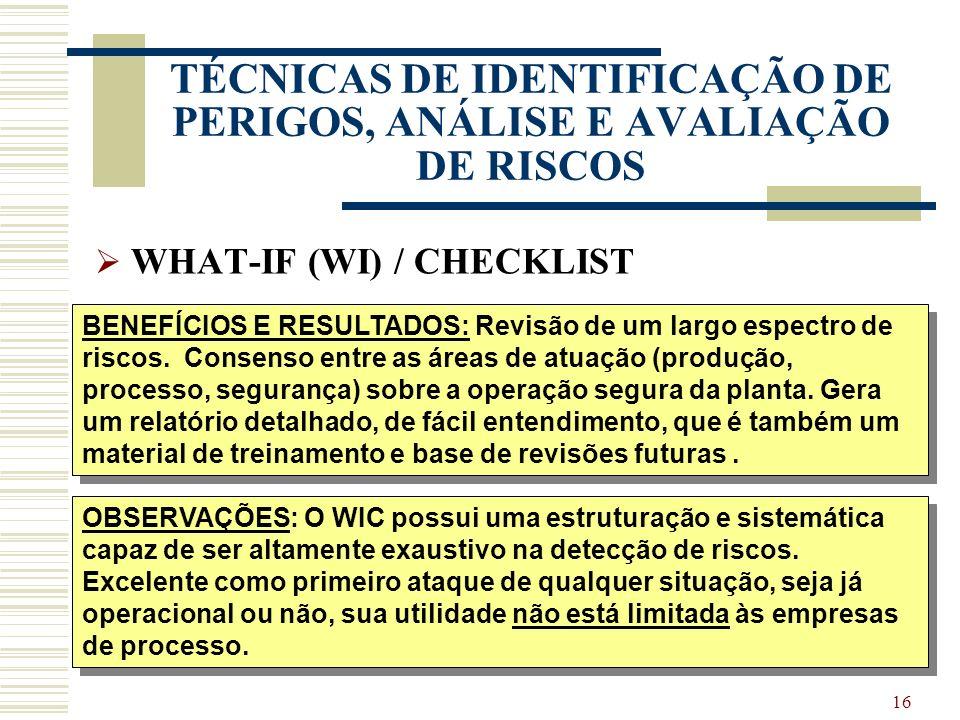 15 TÉCNICAS DE IDENTIFICAÇÃO DE PERIGOS, ANÁLISE E AVALIAÇÃO DE RISCOS WHAT-IF (WI) / CHECKLIST PRINCÍPIOS / METODOLOGIA: O WIC é um procedimento de r