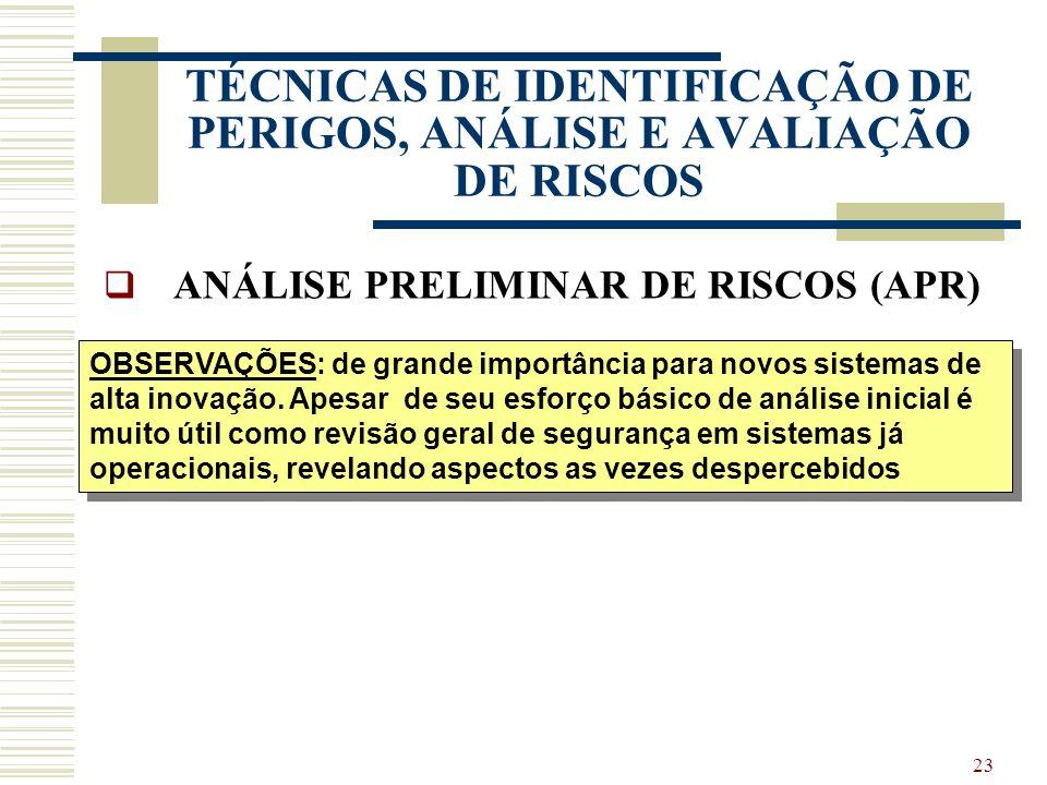 22 TÉCNICAS DE IDENTIFICAÇÃO DE PERIGOS, ANÁLISE E AVALIAÇÃO DE RISCOS ANÁLISE PRELIMINAR DE RISCOS (APR) PRINCÍPIOS / METODOLOGIA: Revisão geral de a