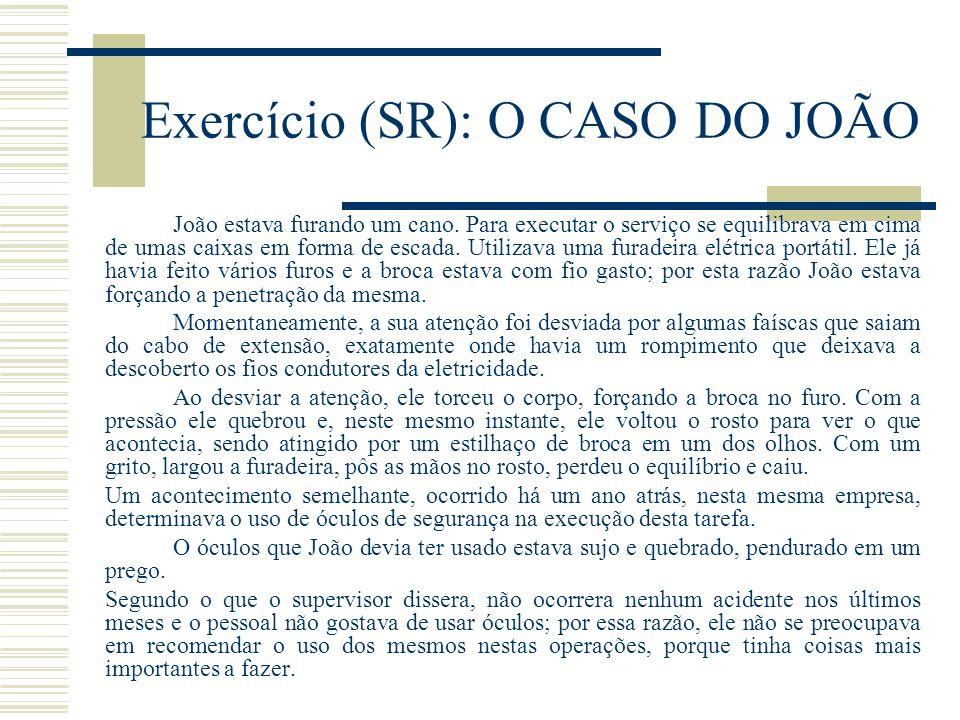 Exercício (SR): O CASO DO JOÃO João estava furando um cano.