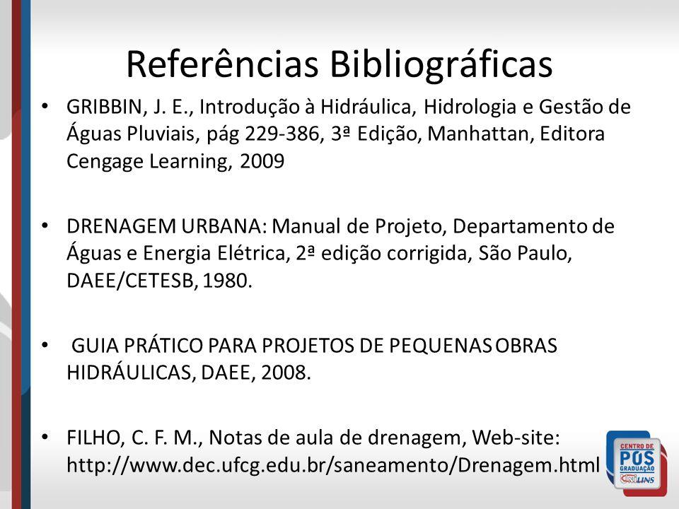 Referências Bibliográficas GRIBBIN, J. E., Introdução à Hidráulica, Hidrologia e Gestão de Águas Pluviais, pág 229-386, 3ª Edição, Manhattan, Editora