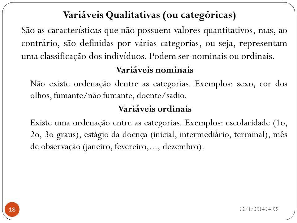 Variáveis Qualitativas (ou categóricas) São as características que não possuem valores quantitativos, mas, ao contrário, são definidas por várias cate
