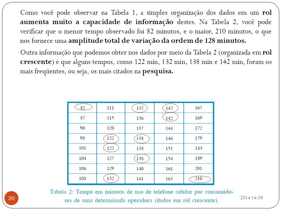 Como você pode observar na Tabela 1, a simples organização dos dados em um rol aumenta muito a capacidade de informação destes. Na Tabela 2, você pode