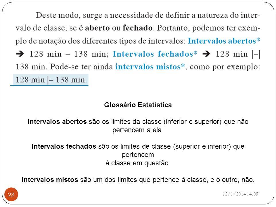 12/1/2014 14:07 23 Glossário Estatística Intervalos abertos são os limites da classe (inferior e superior) que não pertencem a ela. Intervalos fechado
