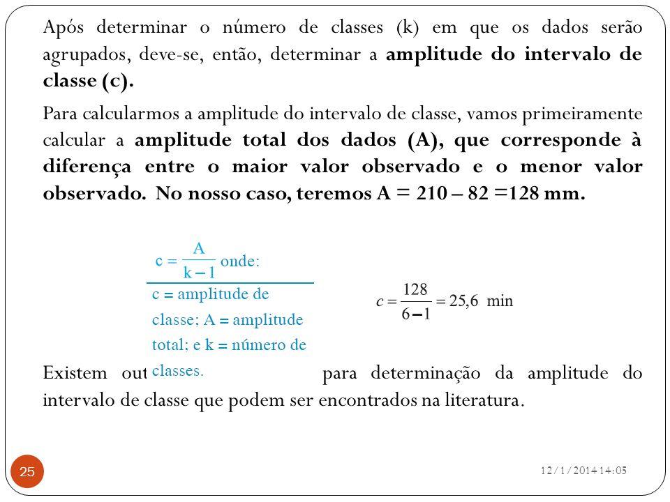 Após determinar o número de classes (k) em que os dados serão agrupados, deve-se, então, determinar a amplitude do intervalo de classe (c). Para calcu
