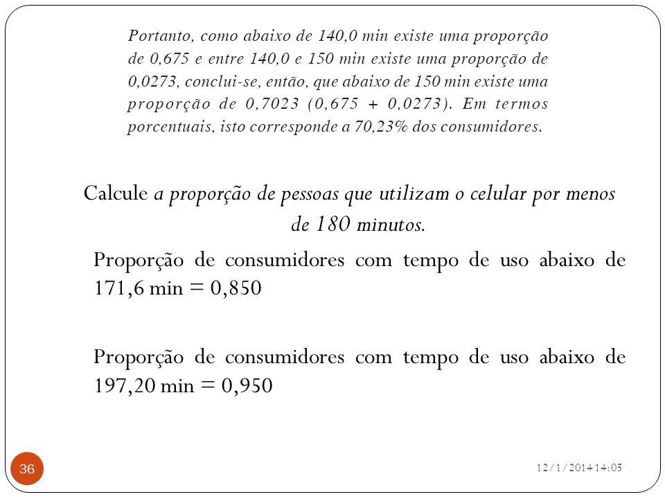 12/1/2014 14:07 36 Calcule a proporção de pessoas que utilizam o celular por menos de 180 minutos. Proporção de consumidores com tempo de uso abaixo d