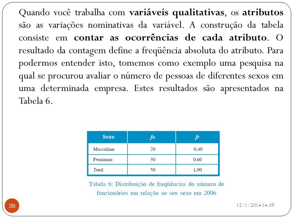 12/1/2014 14:07 38 Quando você trabalha com variáveis qualitativas, os atributos são as variações nominativas da variável. A construção da tabela cons