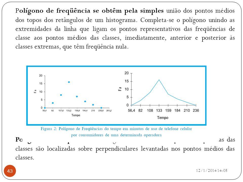 12/1/2014 14:07 43 Polígono de freqüência se obtêm pela simples união dos pontos médios dos topos dos retângulos de um histograma. Completa-se o políg