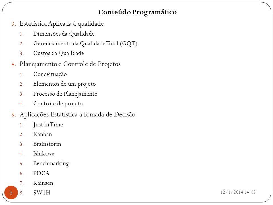 Conteúdo Programático 3. Estatística Aplicada à qualidade 1. Dimensões da Qualidade 2. Gerenciamento da Qualidade Total (GQT) 3. Custos da Qualidade 4